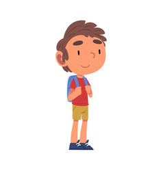 Boy going to school with backpack schoolboy daily vector