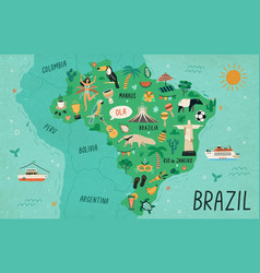 Brazil map hand drawn south vector