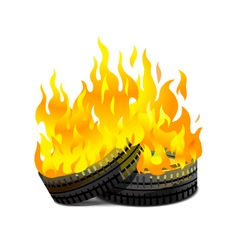 Burning tires vector