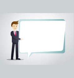 business man hold speech bubble sheet for text vector image
