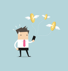 businessman with money flying out from smartphone vector image