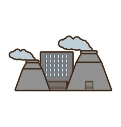 Cartoon plant nuclear and factory building vector