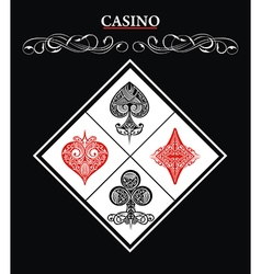 Casino sign with Card Suit symbol vector