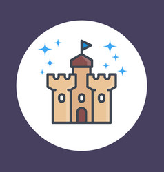 Castle fortress icon in linear style vector