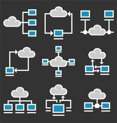 Cloud computing icons set vector