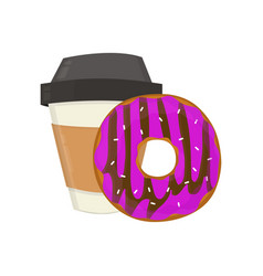 coffee cup and donut flat modern vector image