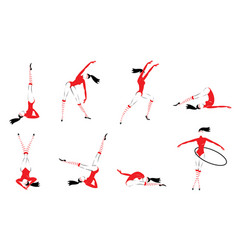 colorful gymnasts set vector image