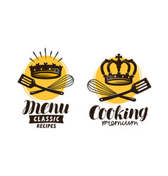 Cooking cuisine logo label for restaurant or vector