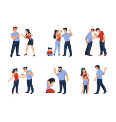 Couples conflict cartoon angry men and women vector