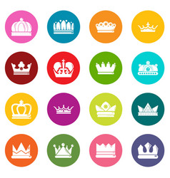 crown gold icons set colorful circles vector image