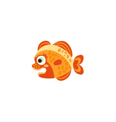 cute funny orange fish hand drawn vector image