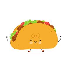 cute funny taco character hand drawn vector image