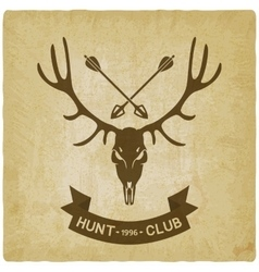 deer skull silhouette old background hunting club vector image