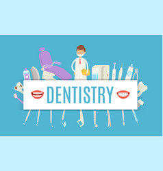 Dentistry with dental doctor stomatology tools vector
