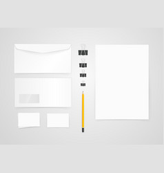 different paper objects for branding mock-up vector image