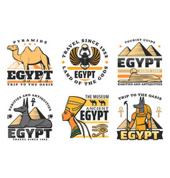egypt travel icons pyramids and sphinx vector image