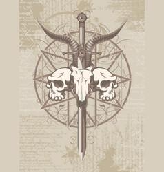 Emblem with skulls sword and pentagram vector