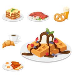 European tasty food cuisine dinner food showing vector