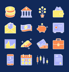 Finance and money icon collection in colored line vector