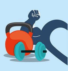 Fitness weight barbell arm heart vector