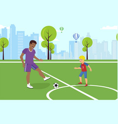 flat dad playing with son in football vector image