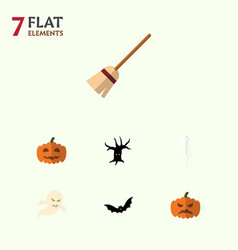 Flat icon halloween set of broom skeleton ghost vector