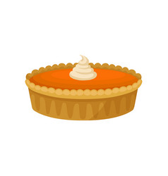 flat icon of pumpkin pie with whipped cream vector image