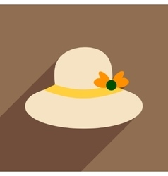 Flat icon with long shadow women hat vector