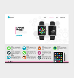 flat smart watch landing page concept vector image