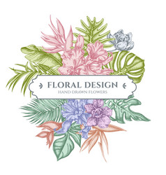 floral bouquet design with pastel monstera banana vector image