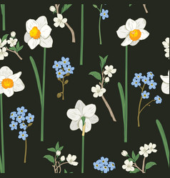 floral seamless pattern daffodils forget me vector image