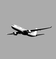 Flying airplane takeoff airliner vector