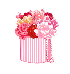 Gift box with tulips and roses holiday decoration vector