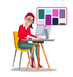 graphic designer working woman searching vector image