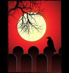 Graveyard with black crow perched on grave stone w vector