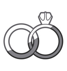 Grayscale silhouette of wedding rings vector