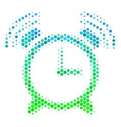Halftone blue-green buzzer icon vector