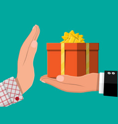 Hand giving gift box to other hand vector