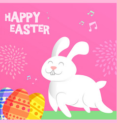 Happy spring bunny greeting card for easter vector