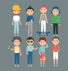 happy young boys with youth urban style characters vector image