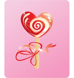 heart candy - lollipop - on pink background vector image