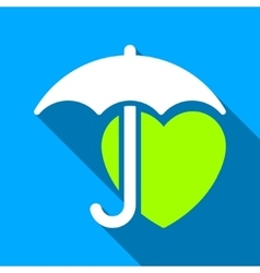 Heart Umbrella Protection Flat Long Shadow Square vector