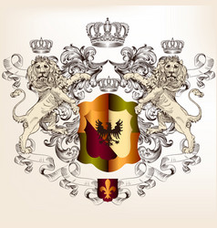 heraldic design shield and lions vintage style vector image