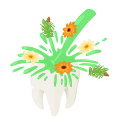herbal water on tooth icon isometric style vector image