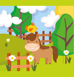 Horse with chick in head wooden fence flowers farm vector