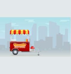 hot dog cart street fast food market on big city vector image