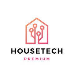House tech circuit logo icon vector