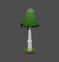 Icon of green fantasy mushroom game asset vector