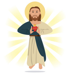 jesus christ sacred heart religious symbol vector image