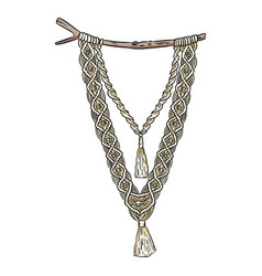 Macrame boho style wall hanger textile knotting vector